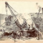 Showing a large steam driven excavator Constructing Haxey cutting with bridge in background