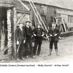 Four workers standing outside Siddal's Joiners Westwoodside about 1910